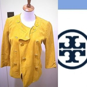 Tory burch yellow suede buttery jacket